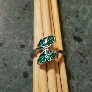 Green Enamel Leaves Silver-Tone Ring
